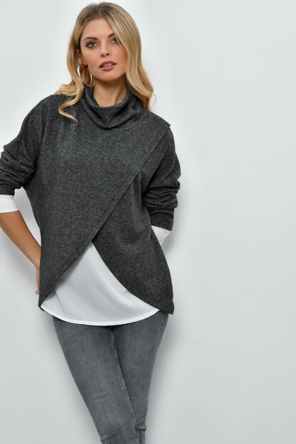 Women's Anthracite Contrast Eyelash Blouse DY2894