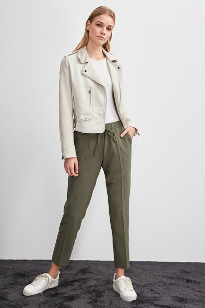 Khaki Binding Detailed Trousers TWOSS19ST0212