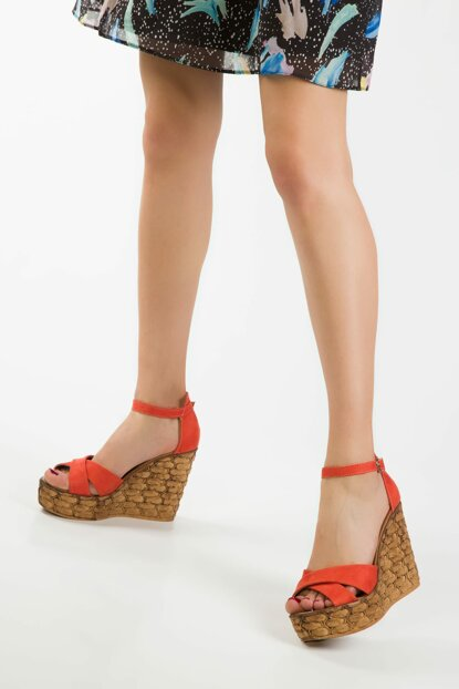 Orange Suede Women's Wedge Heeled Shoes 13049
