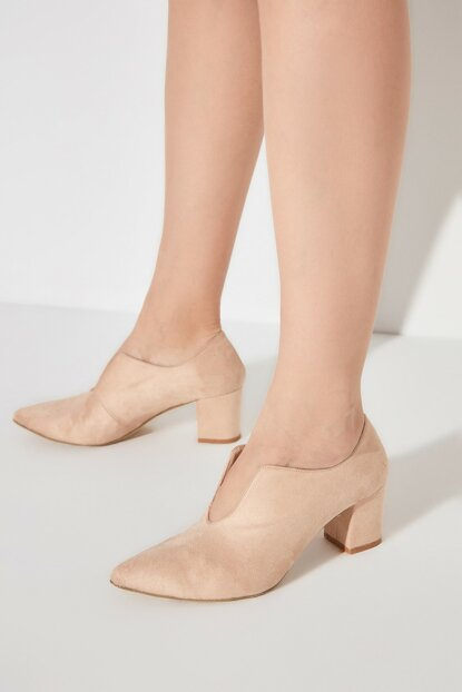 Beige Suede Women Classic Heels Shoes TAKAW20TO0117