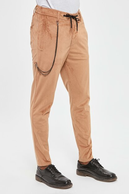 Beige Velvet Chain Detailed Trousers Pants TMNAW20PL0608