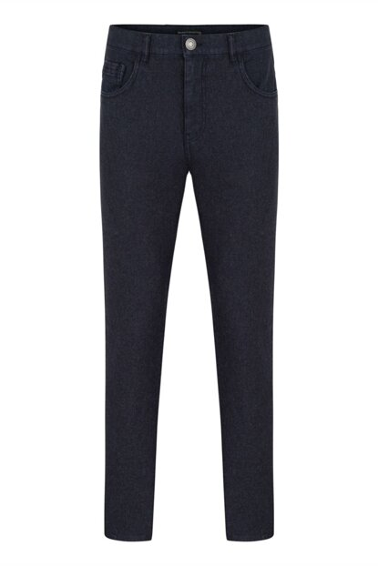 Men's Navy Blue Slim Fit Cotton Trousers 349261