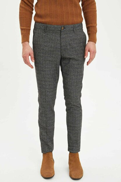 Men's Brown Tailored Fit Check Pants M2139AZ.19WN.BN207