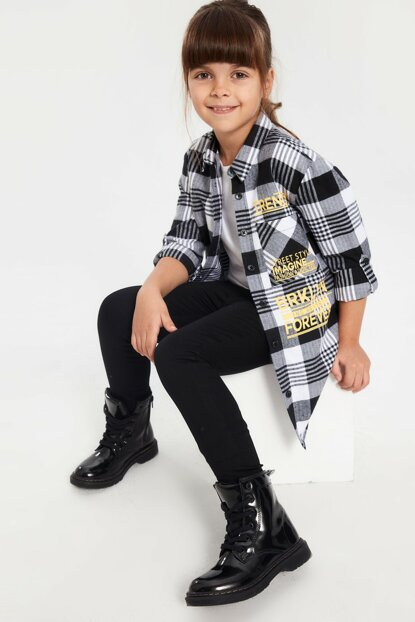Girl's Black Plaid LKX Shirt 9WR408Z4