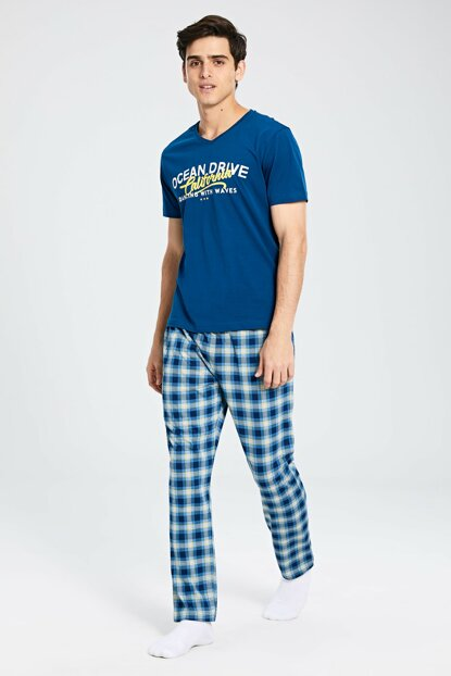 Men's Oil Printed Pajamas Set 0S3433Z8