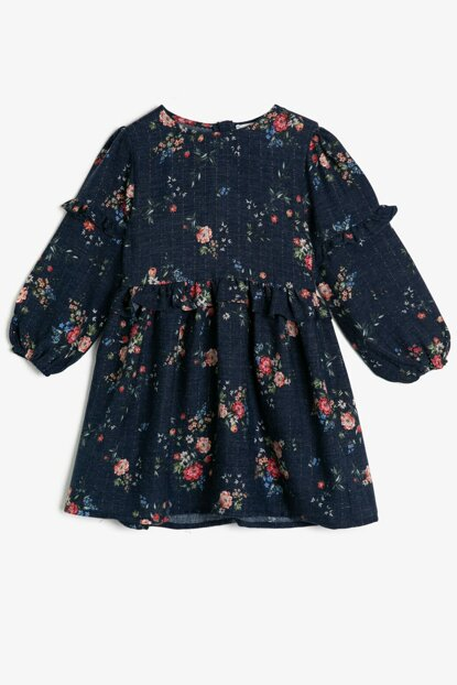 Navy Blue Girls Patterned Dress 0KKG87983AW