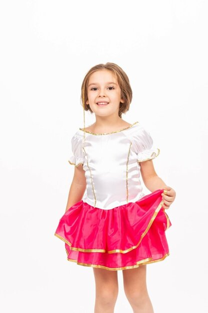 Modern Dance Costume - Pink Sequin White Suit - St0024 -1 - Pink - 7 Years ST0024-1