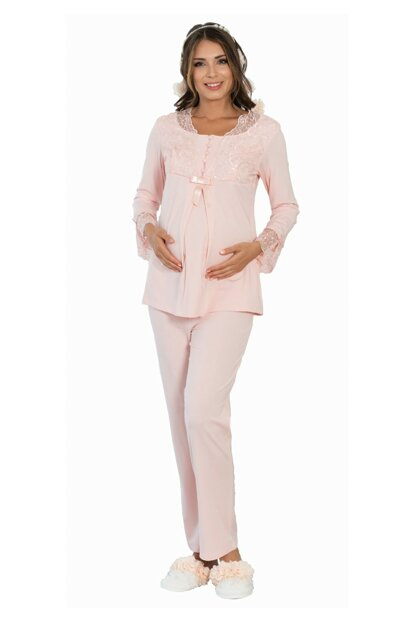 Women's Powder 5102 Plush Detailed Dressing Gown Maternity Lohusa Pajama Set SM5102
