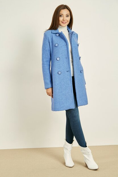 Big Button Double Breasted Coat - BLUE - 20KKA139K154