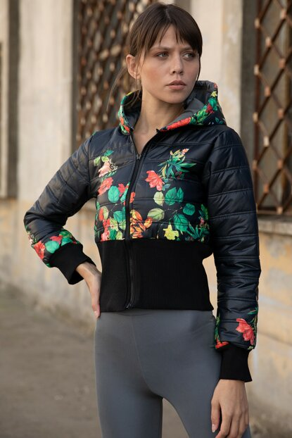 Women's Black Hooded Floral Pattern Inflatable Coat P-015636