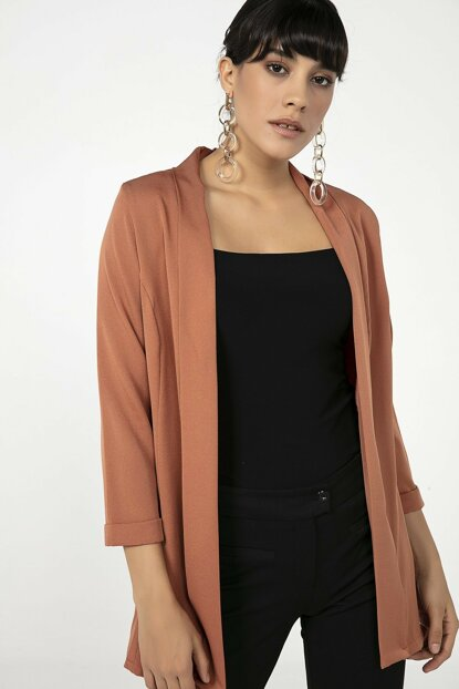Women Shawl Lapel Sleeve Folded Lycra Jacket Cinnamon 19Y3400019