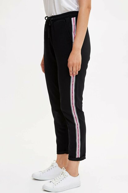 Women's Black Sides Striped Knitted Trousers L8023AZ.19AU.BK27