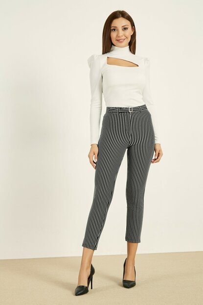 Buckle Detailed High Waist Trousers - Lined BLACK 20KPA768K110