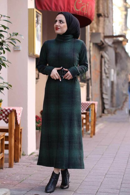 Women's Emerald Hijab Belt Dress 6166-031