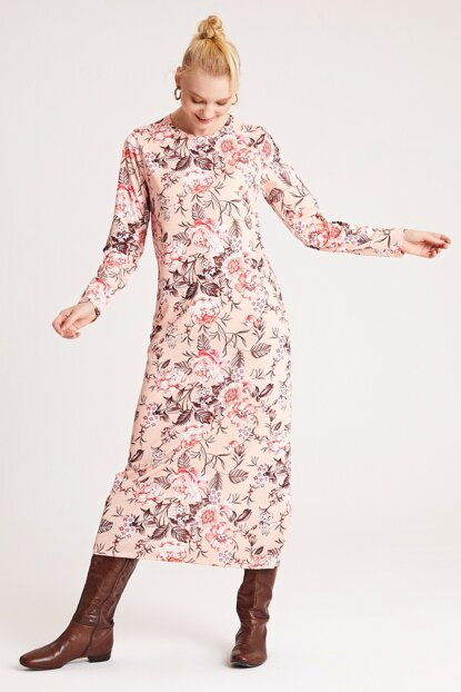 Women's Pink Patterned Dress 50132