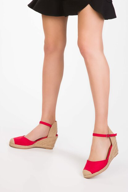 Red Suede Women's Wedge Heeled Shoes 13166