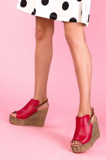 Red Women's Wedge Heeled Shoes 13447