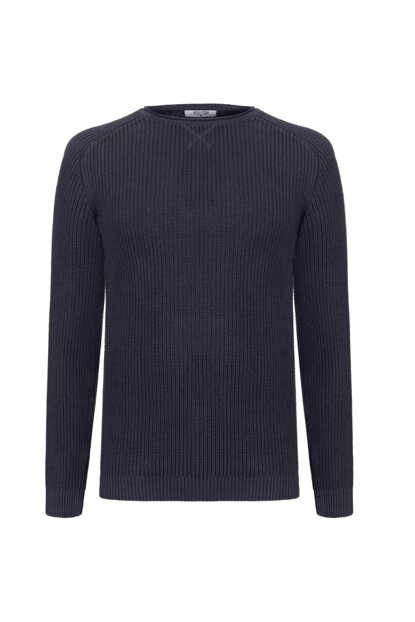 Men's Navy Cotton Crew Neck Sweater 339610