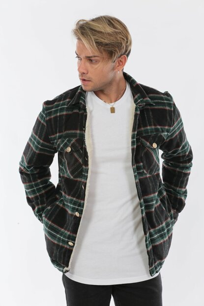 Men's Fur Lumber Green Jacket CKT5892Ye