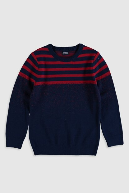 Boys' Red Striped Pullover E48 Sweater 9W4477Z4