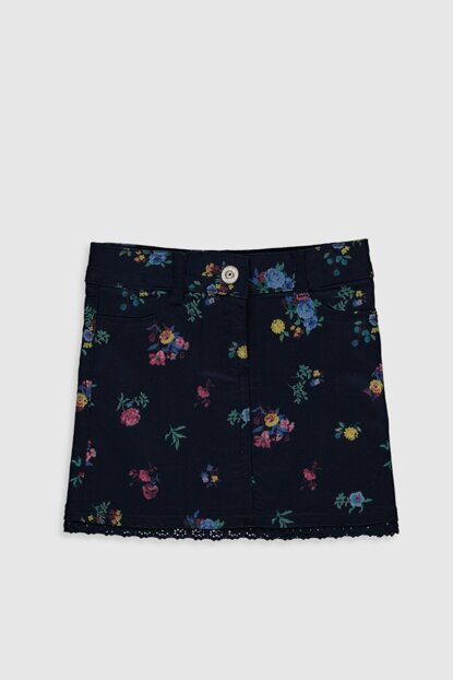 Girl Kids Navy Blue Printed Lsj Skirt 0S1511Z4