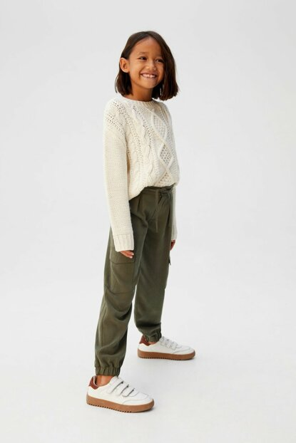 Khaki Color Girls Trousers 57014757