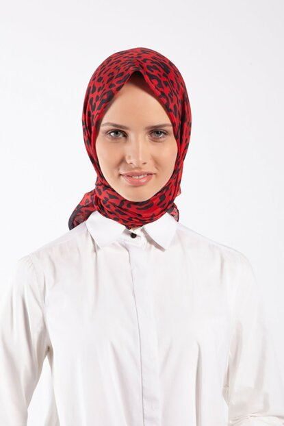 Women's Red Pes Voile Scarf