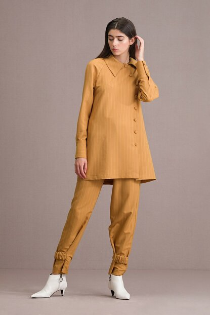 Women Button Detailed Striped Double Set Mustard T209
