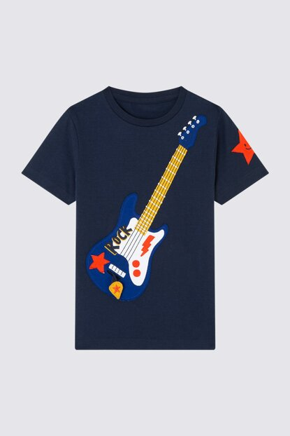 Boys' Guitar Patterned Short Sleeve T-Shirt T88001360T