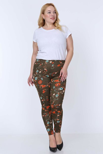 Women's Green Green Floral Stretchy Leggings 5E-0771