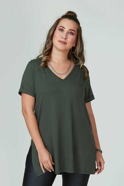 Women's Khaki V Neck Basic T-Shirt 101010400083