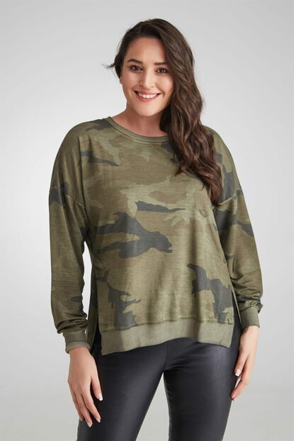 Women Sweat Camouflage Patterned Oil Wash Slits Khaki-Bb PRA-236354-586536