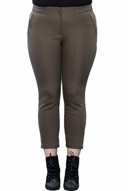 Women's Khaki High Waist Front Stitched Pants PT2192