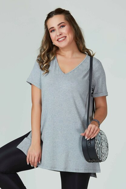 Women's Gray V Neck Basic T-Shirt 101010400083