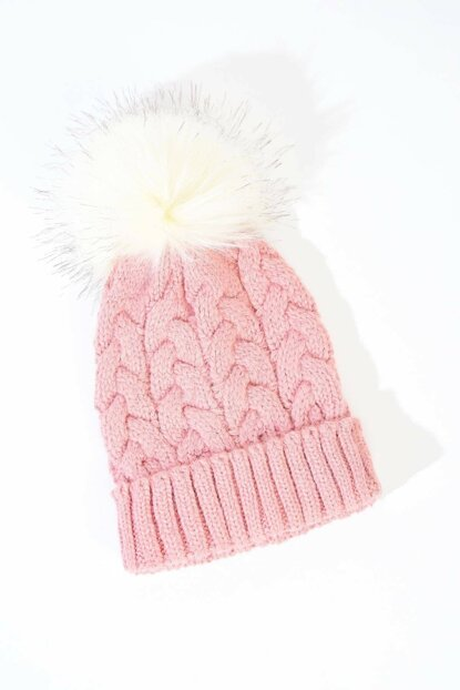 Women's Pink Pompom Detailed Hat Ş3050 ADX-0000020466