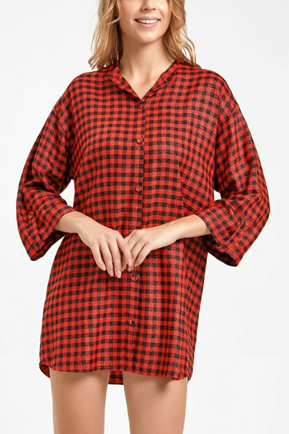 Women's Red Plaid Penny Short Nightgown SH20280613957