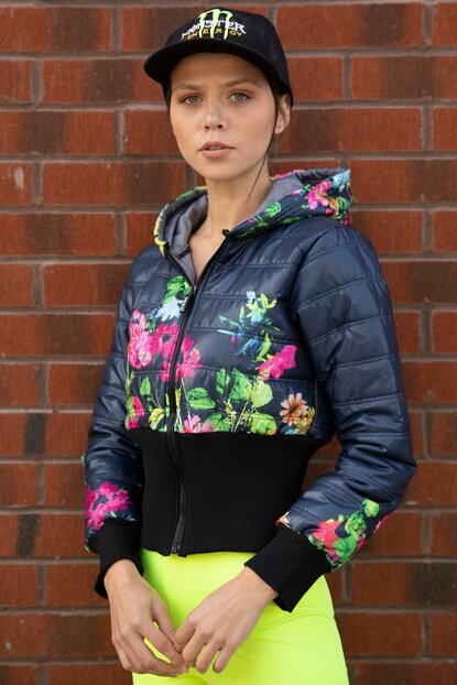 Women's Navy Blue Hooded Floral Pattern Inflatable Coat P-015636