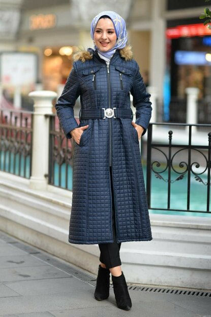 Women's Navy Blue Plaid Quilted Coat TSD2138