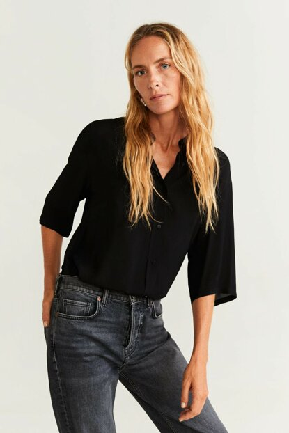 Women's Black Flowy Button Shirt 57054384