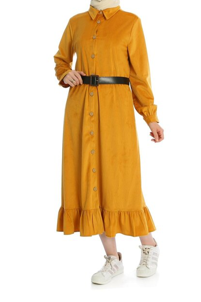 Women Mustard Front Button Bottom Ruffle Dress ELB03207_HRD