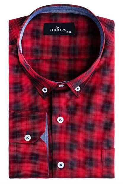 Plus Size Red Checked Man Shirt Bt190009-410 BT190009-411