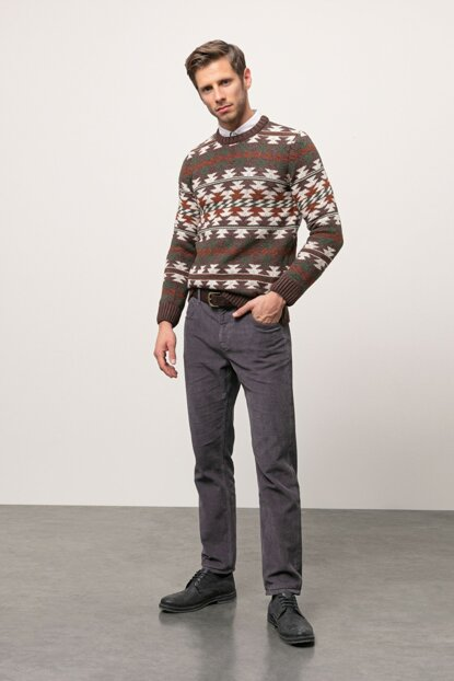 Men's Dark Brown Pattern Pullover 343289