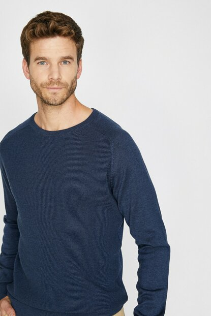 Men's Blue Crew Neck Pullover 0KAM94560OT