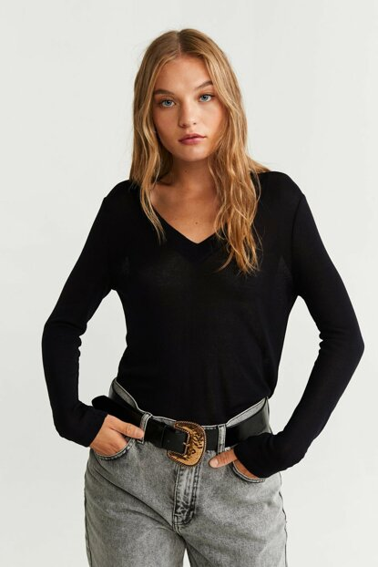 Women's Black Slim Knit T-Shirt 57035916