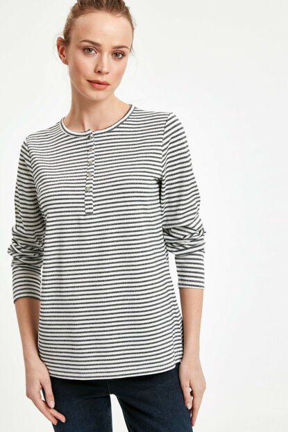 Women's Navy Blue Striped T-Shirt 9S8794Z8