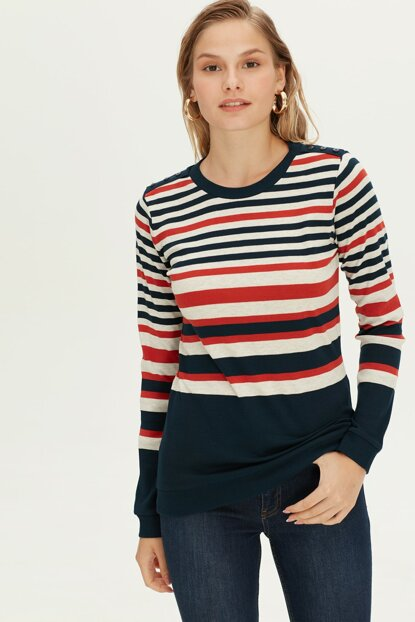 Women's Red Striped T-Shirt 9W6037Z8