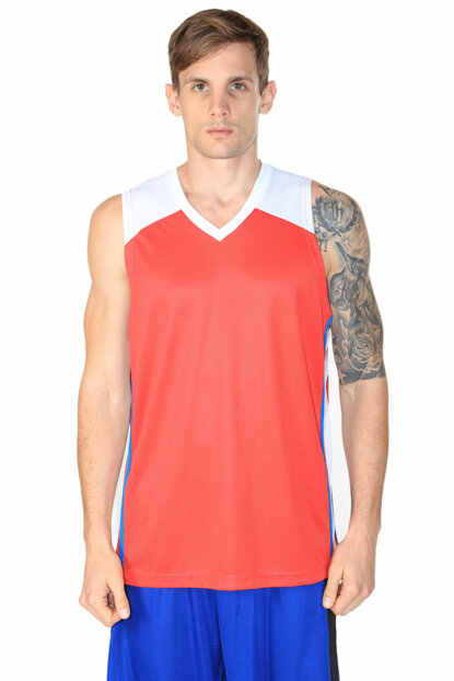 Men's Jersey - Men's V-Neck Red-White Basketball Jersey - 201422-KBX