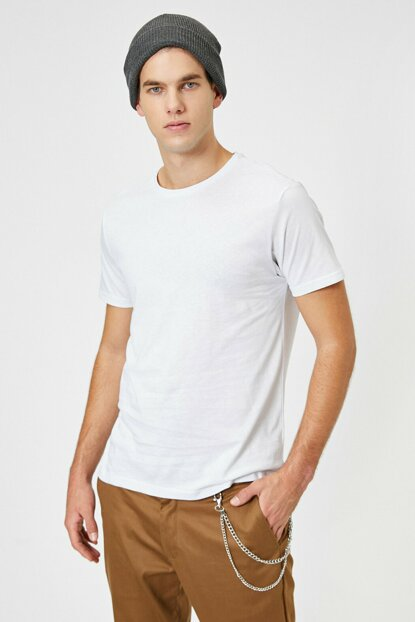 Men's White Crew Neck T-Shirt 0YAM12136LK