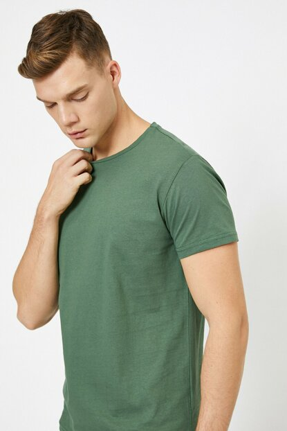 Men's Green Crew Neck T-Shirt 0YAM12136LK
