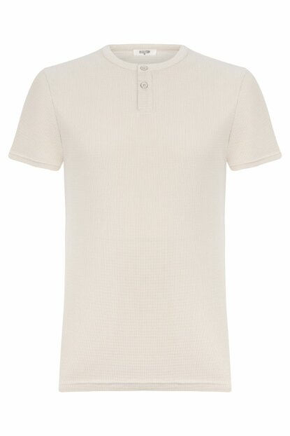 Men's Stone Button Detailed Cotton Short Sleeve T-Shirt 329325